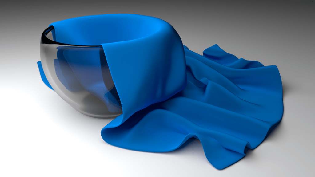 blue fabric draped in a bowl