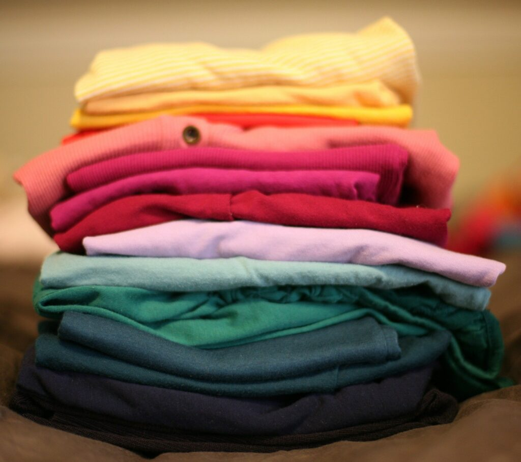 a stack of folding laundry