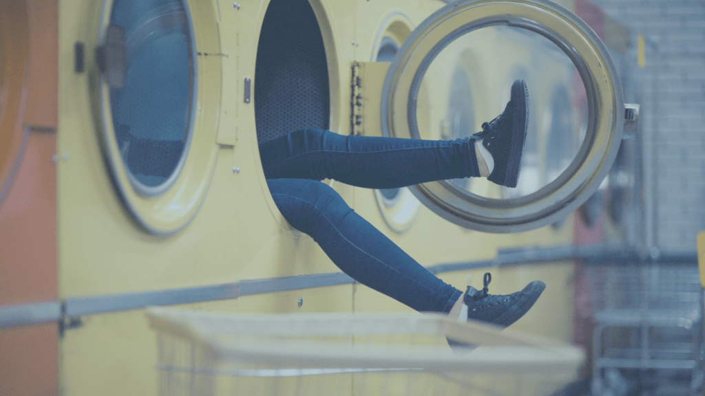 woman in common area laundry rooms